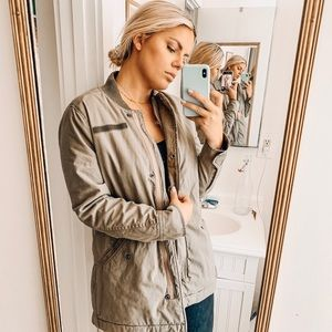 Abercrombie & Fitch shearling canvas military coat
